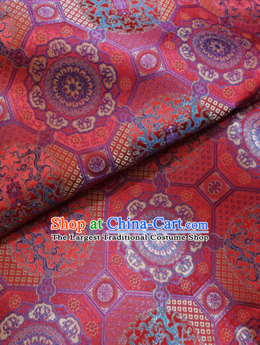 Asian Chinese Classical Pattern Design Red Brocade Fabric Traditional Tang Suit Satin Drapery Silk Material