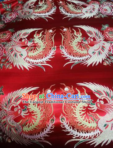 Asian Chinese Dress Beige Satin Classical Phoenix Pattern Design Red Brocade Fabric Traditional Drapery Silk Material