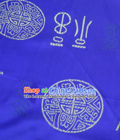 Asian Chinese Royalblue Satin Fabric Classical Lucky Character Pattern Design Brocade Traditional Drapery Silk Material