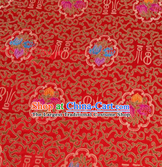 Asian Chinese Classical Lucky Peach Pattern Design Red Satin Fabric Brocade Traditional Drapery Silk Material