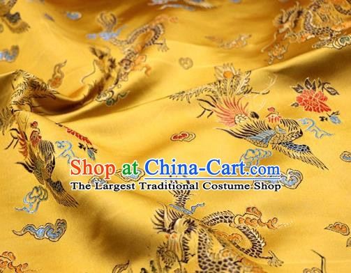 Asian Chinese Classical Dragon Phoenix Pattern Design Golden Satin Fabric Brocade Traditional Drapery Silk Material