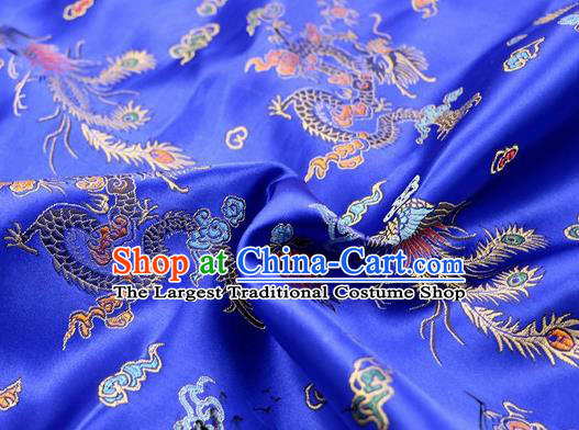Asian Chinese Classical Dragon Phoenix Pattern Design Royalblue Satin Fabric Brocade Traditional Drapery Silk Material
