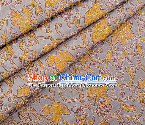 Asian Japanese Kimono Fabric Classical Grape Pattern Design Grey Brocade Traditional Drapery Silk Material