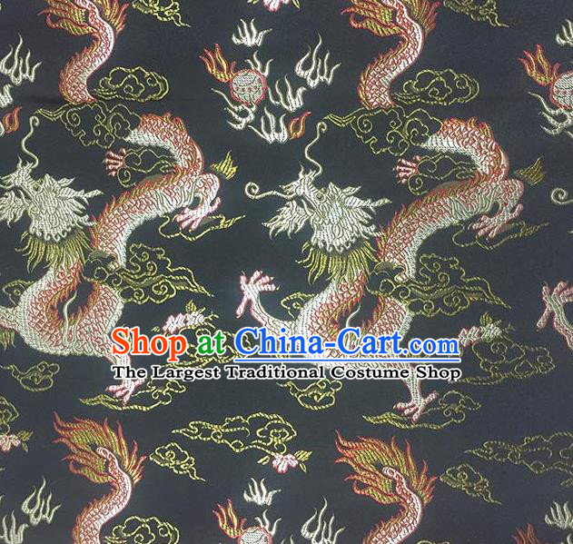Chinese Classical Fire Dragons Pattern Design Black Satin Fabric Brocade Asian Traditional Drapery Silk Material