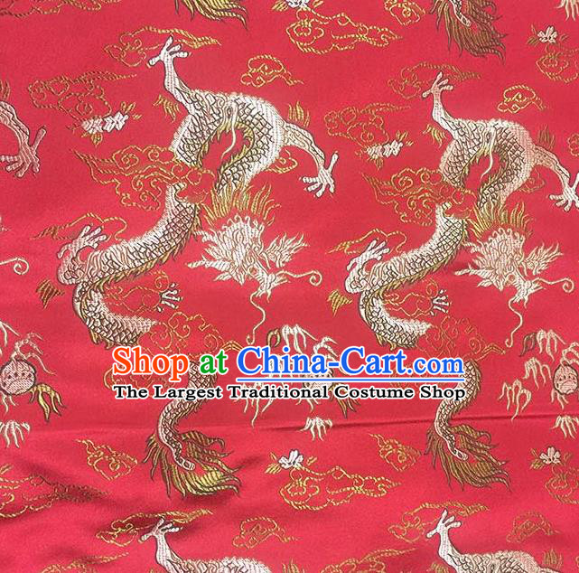 Chinese Classical Fire Dragons Pattern Design Red Satin Fabric Brocade Asian Traditional Drapery Silk Material