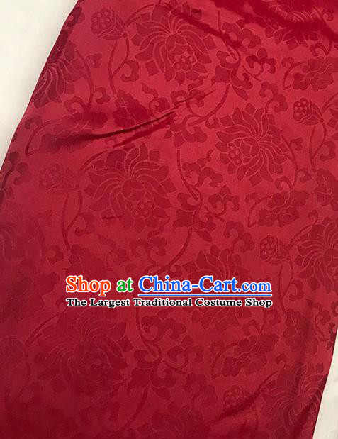 Chinese Tang Suit Red Brocade Classical Lotus Pattern Design Satin Fabric Asian Traditional Drapery Silk Material