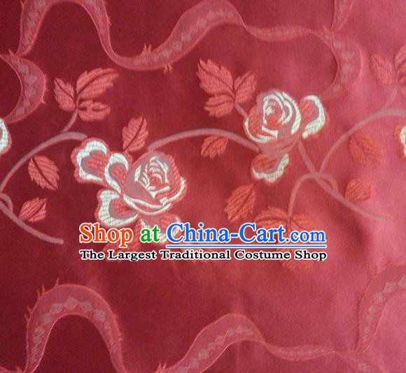 Chinese Classical Roses Pattern Design Satin Fabric Tang Suit Red Brocade Asian Traditional Drapery Silk Material