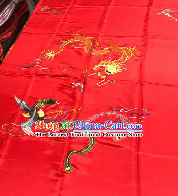 Chinese Classical Dragon Phoenix Pattern Design Red Satin Fabric Brocade Asian Traditional Drapery Silk Material