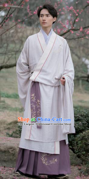 Asian Chinese Ancient Nobility Childe Embroidered Hanfu Dress Traditional Jin Dynasty Scholar Historical Costume for Men