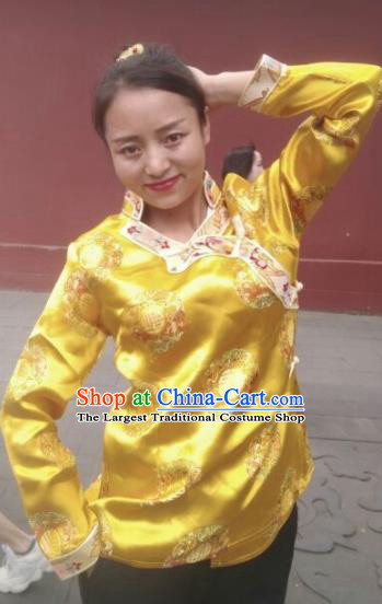 Chinese Traditional Zang Nationality Golden Blouse Tibetan Shirt Ethnic Dance Costume for Women