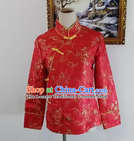 Chinese Traditional Zang Nationality Red Blouse Tibetan Shirt Ethnic Dance Costume for Women