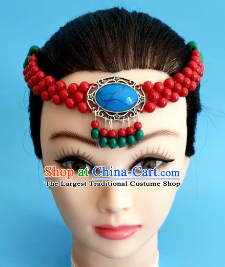 Chinese Traditional Mongol Nationality Red Hair Clasp Mongolian Ethnic Dance Headband Accessories for Women