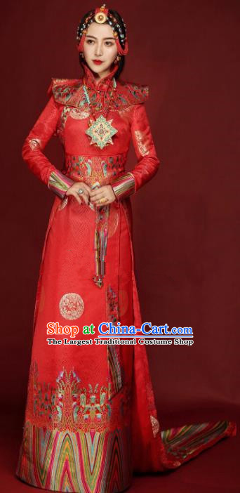 Chinese Traditional Ethnic Bride Tibetan Robe Zang Nationality Female Red Dress Wedding Costume for Women
