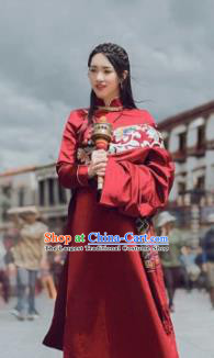 Chinese Traditional Ethnic Bride Wine Red Tibetan Robe Zang Nationality Female Dress Wedding Costume for Women