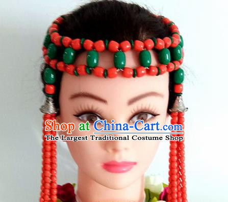 Chinese Traditional Mongol Nationality Green Beads Tassel Hair Clasp Mongolian Ethnic Dance Headband Accessories for Women