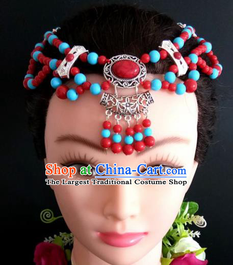 Chinese Traditional Mongol Nationality Beads Tassel Hair Clasp Mongolian Ethnic Dance Headband Accessories for Women