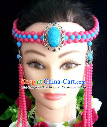 Chinese Traditional Mongol Nationality Pink Beads Tassel Hair Clasp Mongolian Ethnic Dance Headband Accessories for Women