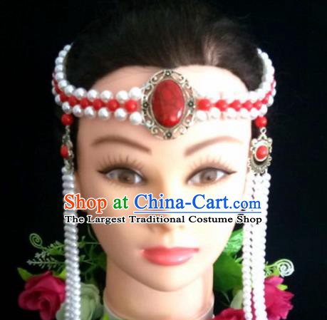 Chinese Traditional Mongol Nationality White Beads Tassel Hair Clasp Mongolian Ethnic Dance Headband Accessories for Women