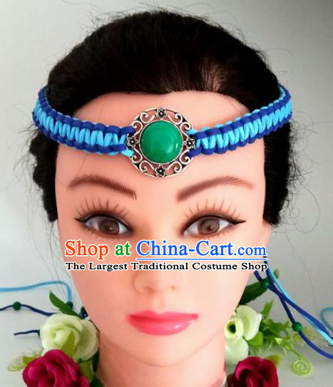 Chinese Traditional Mongol Nationality Blue Weave Hair Clasp Mongolian Ethnic Dance Headband Accessories for Women