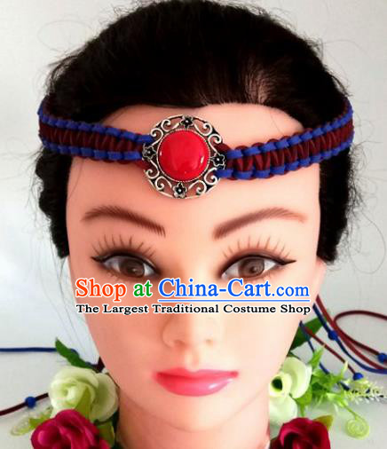 Chinese Traditional Mongol Nationality Weave Hair Clasp Mongolian Ethnic Dance Headband Accessories for Women