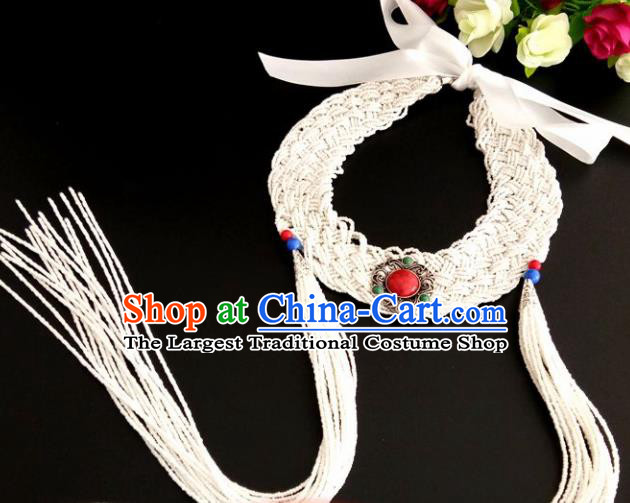 Chinese Traditional Mongol Nationality Weave White Tassel Hair Clasp Mongolian Ethnic Dance Headband Accessories for Women