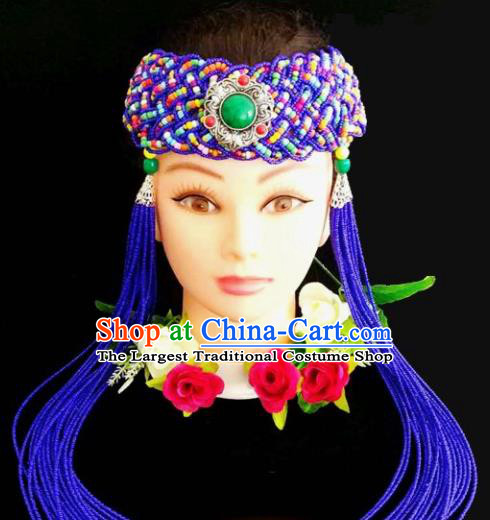 Chinese Traditional Mongol Nationality Weave Royalblue Tassel Hair Clasp Mongolian Ethnic Dance Headband Accessories for Women