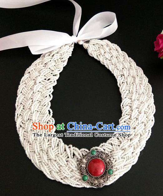 Chinese Traditional Mongol Nationality Weave White Hair Clasp Mongolian Ethnic Dance Headband Accessories for Women
