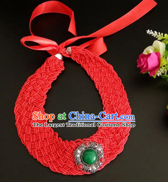 Chinese Traditional Mongol Nationality Weave Red Hair Clasp Mongolian Ethnic Dance Headband Accessories for Women