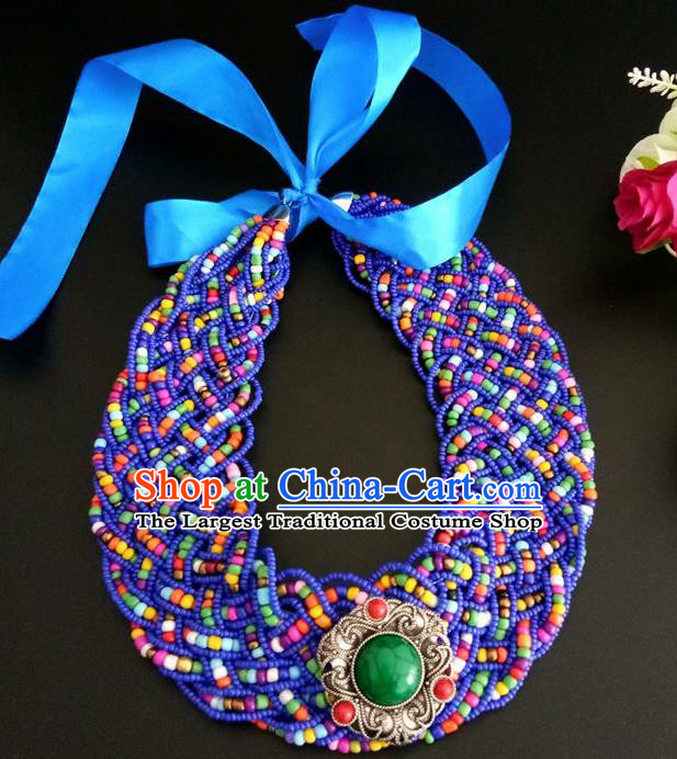Chinese Traditional Mongol Nationality Weave Royalblue Hair Clasp Mongolian Ethnic Dance Headband Accessories for Women