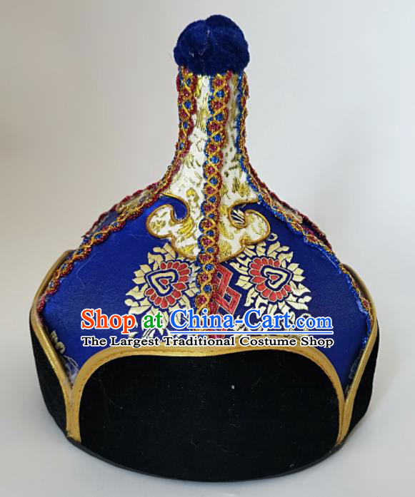Chinese Traditional Mongol Nationality Royalblue Hat Mongolian Ethnic Royal Highness Headwear Accessories for Men
