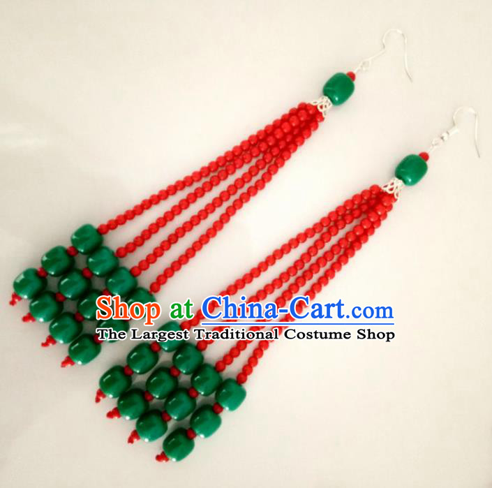 Chinese Traditional Mongol Nationality Red Beads Earrings Mongolian Ethnic Ear Accessories for Women