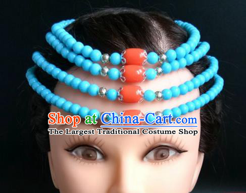 Chinese Traditional Mongol Nationality Blue Beads Hair Clasp Mongolian Ethnic Dance Headband Accessories for Women