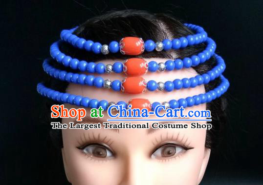 Chinese Traditional Mongol Nationality Royalblue Beads Hair Clasp Mongolian Ethnic Dance Headband Accessories for Women