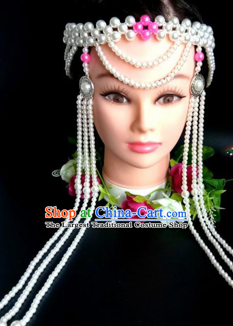 Chinese Traditional Mongol Nationality Rosy Beads Hair Clasp Mongolian Ethnic Dance Tassel Headband Accessories for Women