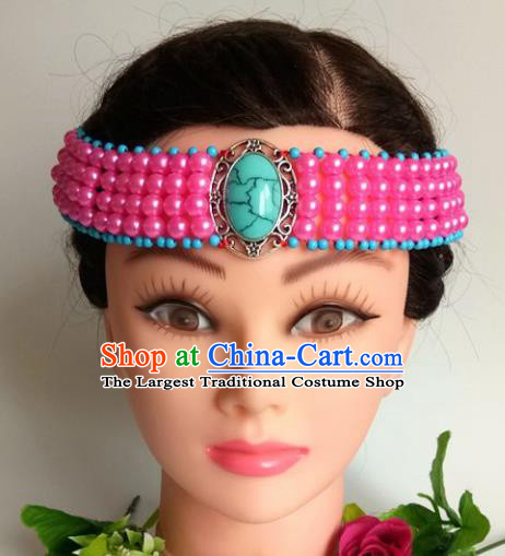 Chinese Traditional Mongol Nationality Rosy Beads Hair Clasp Mongolian Ethnic Dance Headband Accessories for Women