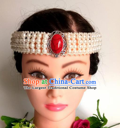 Chinese Traditional Mongol Nationality White Beads Hair Clasp Mongolian Ethnic Dance Headband Accessories for Women