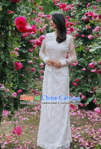 Chinese Traditional Zang Nationality Female White Lace Dress Tibetan Robe Ethnic Dance Costume for Women