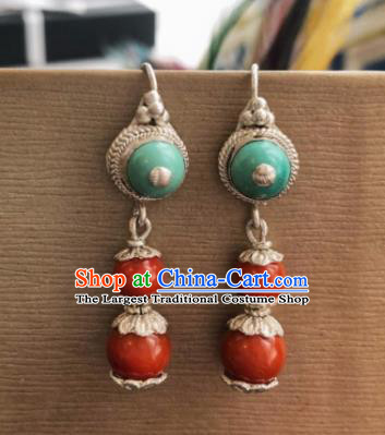 Chinese Traditional Zang Nationality Red Earrings Tibetan Ethnic Ear Accessories for Women