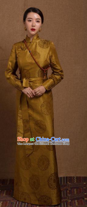 Chinese Traditional Ethnic Golden Tibetan Robe Zang Nationality Female Dress Costume for Women