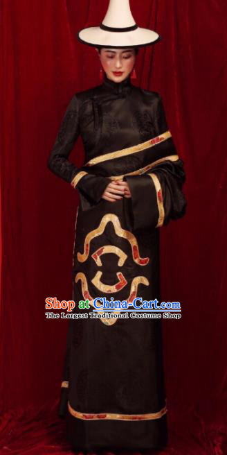 Chinese Traditional Ethnic Black Tibetan Robe Zang Nationality Female Dress Costume for Women