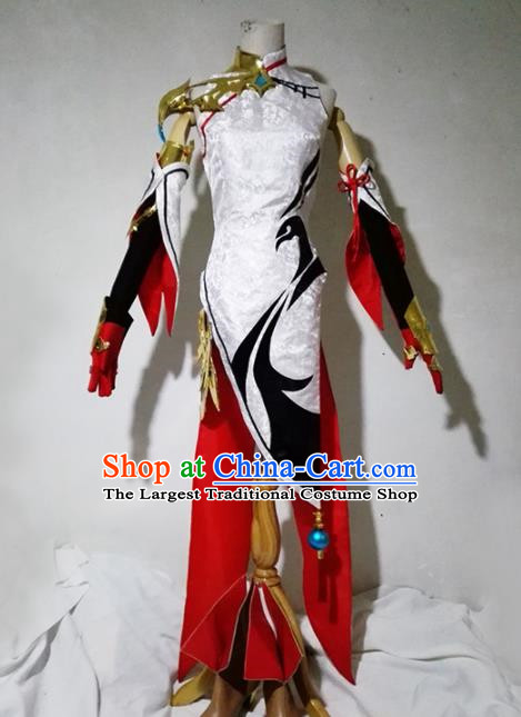 Chinese Traditional Cosplay Female Warrior Costume Ancient Swordsman White Dress for Women
