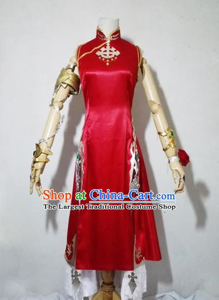 Chinese Traditional Cosplay Female Knight Costume Ancient Swordsman Red Qipao Dress for Women