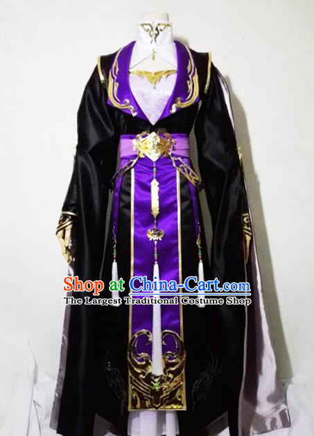 Chinese Traditional Cosplay Female Knight Costume Ancient Swordsman Black Dress for Women