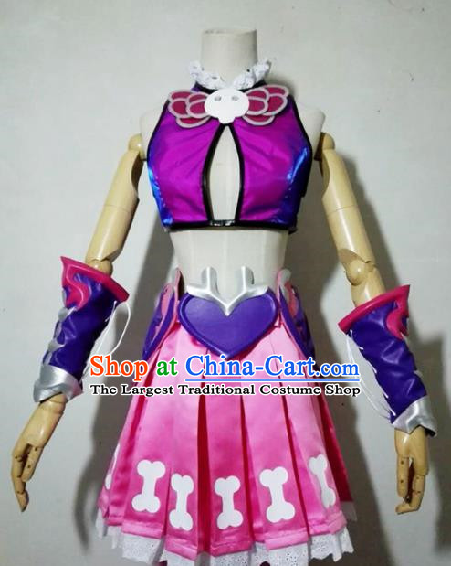 Chinese Traditional Cosplay Knight Costume Ancient Swordsman Rosy Dress for Women