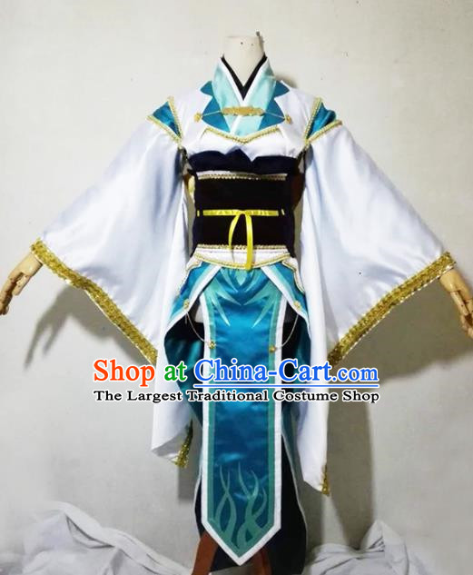 Chinese Traditional Cosplay Female Knight Costume Ancient Swordsman White Dress for Women