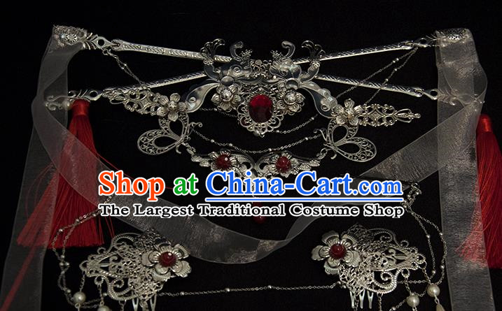 Chinese Traditional Hanfu Hair Crown Hairpins Ancient Princess Hair Accessories Complete Set for Women