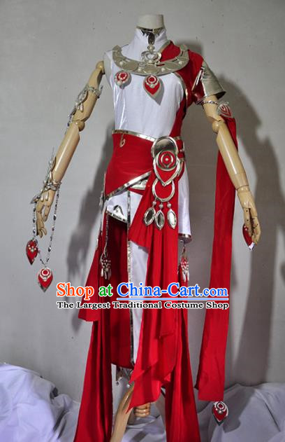 Chinese Traditional Cosplay Young Lady Costume Ancient Female Swordsman Red Dress for Women
