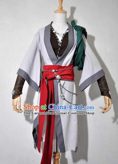 Chinese Traditional Cosplay Young Hero Grey Costume Ancient Swordsman Hanfu Clothing for Men