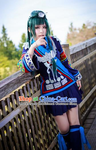 Chinese Traditional Cosplay Young Lady Costume Ancient Female Swordsman Navy Blue Dress for Women