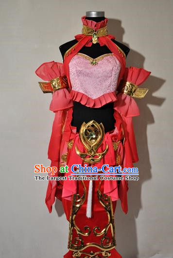 Chinese Traditional Cosplay Knight Costume Ancient Fairy Swordsman Red Dress for Women